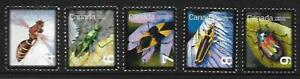 5 x Canadian 2010 MUH Ex Qtr pack stamps (Insects)($1.10)
