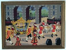 Handmade Needle Point ENGLAND GOLDEN CARRIAGE Picture Framed Vintage