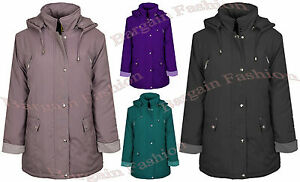 BNWT Ladies Jacket with Detachable Hood Weather Resistant Padded & Quilted Parka