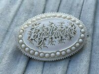 Antique Mourning Brooch Forget Me Not Carved Celluloid Victorian Edwardian White
