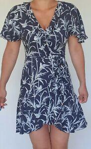 Women's Ex Oasis Floral Wrap Dress Bird Print Navy Size 8 to 18