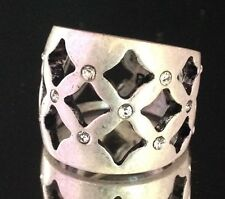 Premier Designs Ring Antiqued Matte Silver Tone Crystal Accents Size 7 2N
