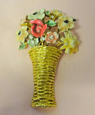 Vintage Signed My Fair Lady Rhinestone Enamel Basket Flowers Pin Brooch Old