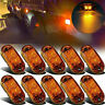 10Pcs Amber 2 LED Lamp Oval Car Clearance Truck Trailer Side Marker Tail Light