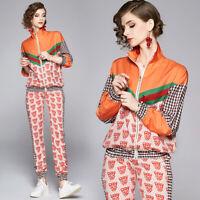 Spring Fall Winter 2pcs Women Sets Vintage Print Jacket Coat Pant Suits Outfits