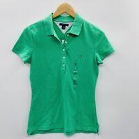 Tommy Hilfiger Womens Size Small Short Sleeve Polo Shirt Ewan Green Cotton 235
