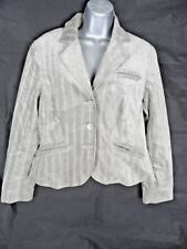 Mink Nude Velour Pinstriped Blazer Jacket Size 14 Petite Next Coat