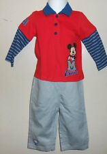 Disney Baby Infant Boys Two (2) Piece Long Sleeve Pant Set Red 6-12M NWT