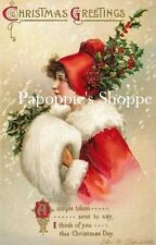 Vintage Victorian Girl Christmas Fabric Block Vintage Postcard Clapsaddle