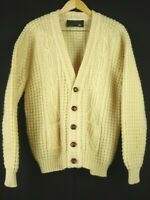 Vintage Handknit in Ireland 100% Wool Cardigan Sweater Fits L Cable