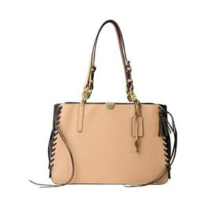Coach Dreamer Tote 36 Whipstitch Tassels Nude pink apricot NWOT