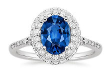 Oval Cut 1.90 Ct Diamond Blue Real Sapphire Ring 14K White Gold Gemstone Ring