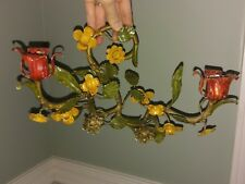 Vtg Tole Italian Toleware Metal Wall Sconce Candle Holder Rose Flower Italy Pair