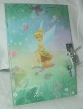 """DISNEY TINKERBELL HARDBOUND DIARY JOURNAL WITH LOCK AND KEY 5"""" X 7""""  LINED PAGES"""