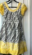 Liz Lange Maternity Dress peasant style  gray yellow white PRINT Womens Sz SMALL