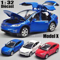 1/32 Tesla Model X 90D SUV Diecast White Model Car Sound&Light Pull Back Toy