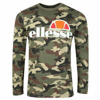 Ellesse Mens  T Shirt Long Sleeve Logo Green Army Camo Grazie RRP £35 New