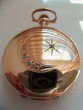 Reloj de bolsillo Waltham/colgante (14k Solid Gold Hunter caso con diamantes 5) 1903