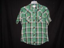 Wrangler Jeans Mens Short Sleeve Multi-Color Plaid Checked Wrancher Shirt Size L