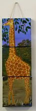 Giraffe pittura molto alto-Originale Acrilico - 30 in (ca. 76.20 cm) - Tuta Bambino Camera