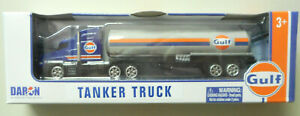 """GULF TANKER 7"""" TRACTOR TANKER TRUCK MOTORMAX DARON TOYS DIECAST APPROX HO SCALE"""