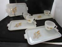 Anchor Hocking Fire King Milk Glass 8PC Snack Luncheon Sets Wheat Pattern USA