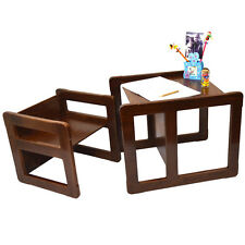 Childrens Multifunctional Furniture Set of 2, 1 Table & 1 Chair Beech Wood