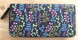 Faux Leather Card Coin Purse Wallet Leaf Design Floral Navy Green Pink NEW