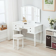 Folding Mirror Vanity White Dressing Table Set Makeup Desk Dresser With  Stool