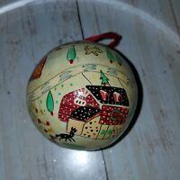 "3.5"" cardboard village  Christmas bulb ball  ornament holiday decor"