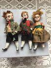 "Antique German Miniature All Bisque Dolls 4"" Lot As Is TLC Dollhouse 3 Dolls"