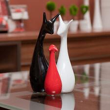 Set of 3 Deer Figures Black & Red Ceramic Pottery Ornament Figurines Decorative