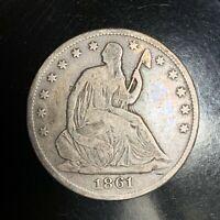 1861-O Seated Liberty Half Dollar Silver Coin