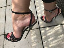 "VERY HIGH HEEL SANDALS strappy 7"" metal stiletto patent fetish size UK3-13"