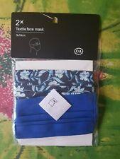 Maske Mund-Nasenschutz Textil, waschbar, blau+geblümt, NEU+OVP