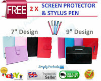 """NEW Universal Folio PU Faux Leather Case Cover Stand for 7"""" 9"""" Android Tablet PC"""