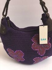 NWT The SAK Bag Gorgeous Crochet Floral Sequin Beaded Shoulderbag Purple Purse