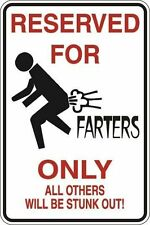 """*Aluminum* Reserved For Farters Only 8""""x12"""" Metal Novelty Sign S101"""