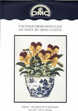 Viola In Willow Pattern Pot Cross Stitch Kit By DMC 10 x 12 inches at 14 Count