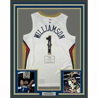 FRAMED Autographed/Signed ZION WILLIAMSON 33x42 White Nike Jersey Fanatics COA