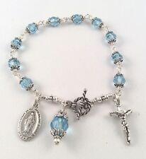 Sterling silver  wirewrap  Aquamarine crystal rosary religious bracelet