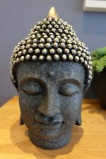 Silver/Black Resin Buddha Head,for relaxing/mindful/yoga/spa/meditation 26.5 cms