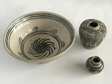Thailand 16th Century Sukhothai Underglaze Iron Bowl And Jars
