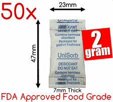 50x2gm Food Grade Silica Gel Packets Desiccant Moisture Absorber Packs Dessicant