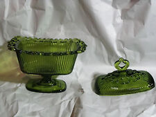 Vintage Indiana Glass Lace Edge Olive Green Footed Candy Dish