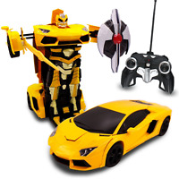 Kids RC Toy Transforming Robot Remote Control Sports Car For Boys 1:14 Scale