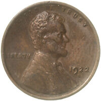1922 D Lincoln Wheat Cent Weak Reverse Extra Fine Penny XF