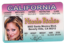 Nicole Richie - daughter of Lionel Ritchie  COMMODORES novelty drivers license