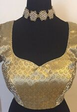 Customisable Gold and White Saree Blouse - Can be made to your size and design!