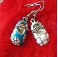 Plaqué argent bleu rose émaillé cristal chaussures boucles d'oreilles